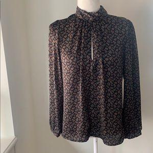 Zara Silky High Neck Keyhole Paisley blouse